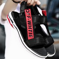 OFF-WHITE 2018 summer new trend men's sandals fashion breathable men's shoes F0350-1 Black/red