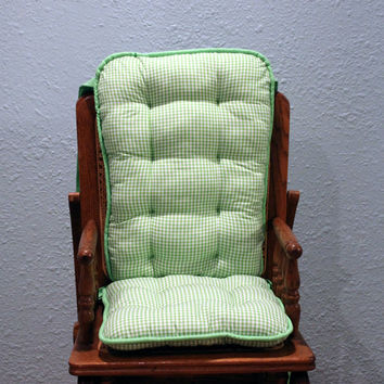 Ready to Ship Reversible Green Gingham High Chair Cushions, Highchair Pads, High Chair Replacement Cover