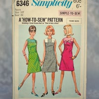 Vintage Sewing Pattern 1960's Teen One-Piece Dress Simplicity 6346, How To Sew Pattern Size 10 Small Teenage Girl Un-printed Pattern