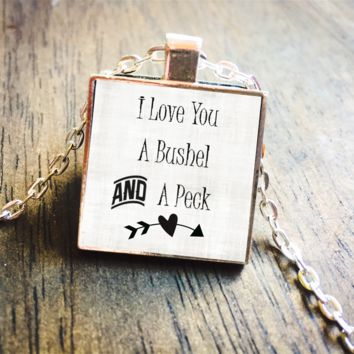 I Love You A Bushel and A Peck Doris Day Silver Pendant Necklace Jewelry