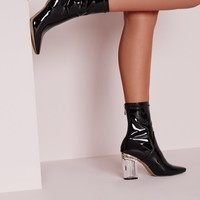Missguided - Patent Ankle Boots Perspex Heel Black