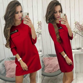 New Autumn Pure Color Slim Dress Women Three Quarter Sleeve Zippers Elegant Casual Office Party Dress