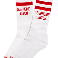 The Supreme Bitch Socks in Red and White