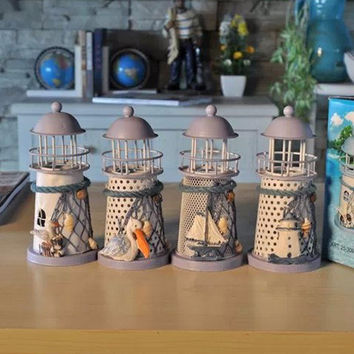 Handmade Mediterranean Style Lighthouse Candle Holder