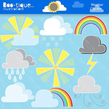 Weather Digital Clipart Set. Weather Clip Art. Clouds Clipart. Rain Clipart. Snow Clip Art. Lightning Clipart. Weather Clipart.