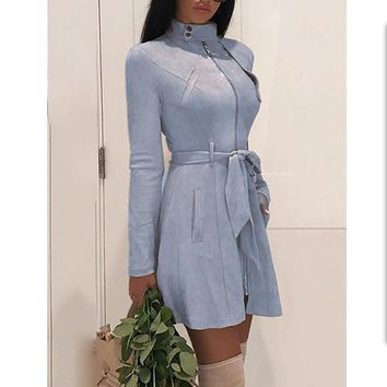 Suede Leather Long Sleeve Belted Form Fitting Shirt Mini Dress