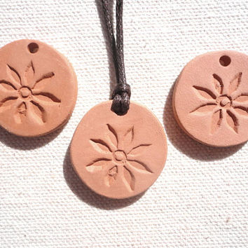Diffuser Clay Ceramic Flower Pendant, Natural Eco Friendly Jewelry, Aromatherapy Essential Scented Oil