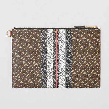 Burberry 2019 new Monogram printed striped zip clutch