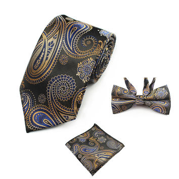 New Fashion Paisley Tie Set 100% Silk Men Necktie Pocket Square Bow tie Set Men Tie for Wedding Party