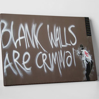 Blank Walls Are Criminal by Banksy Gallery Wrapped Canvas Print