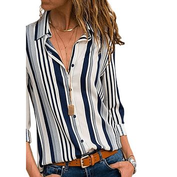 Women Long Sleeve Stripe Blouse
