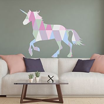 "Wall Decals Magic Unicorn New Full Color Murals Horse Vinyl Sticker Colorful Trendy Nursery Decor Girls Bedroom Playroom Art NS2052 (17"" Tall x 23"" Wide)"