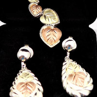 Black Hills Gold Earrings and Pendant, 12k and Sterling, Jewelry Set