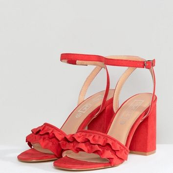 Truffle Collection Ruffle Block Heel Sandal at asos.com