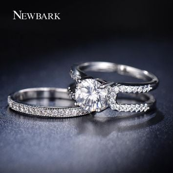 NEWBARK Removable Ring Sets AAA+ CZ Silver Color Wedding Rings Jewelry For Women His And Hers Promise Set