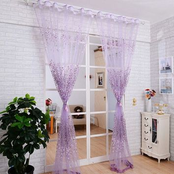 Floral Sheer Tulle Voile Door/Window Curtain