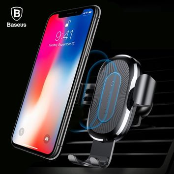 Baseus Car Mount Qi Wireless Charger For iPhone X 8 Plus