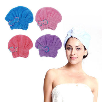 1PC Microfiber Towel Quick Dry Hair Magic Drying Turban Wrap Hat Cap Spa Bathing New