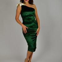 Green Holiday Dress, Christmas Dress, Bombshell Dress, One Shoulder Dress, Emerald Green Dress, Christmas Dress, Cocktail Dress,