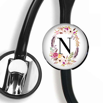 Stethoscope ID Tag, Scope Cover - Floral Frame & Initial