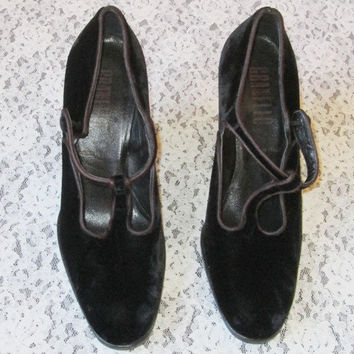 Granello original women shoes Black Velvet/Granello Pumps made in Italy