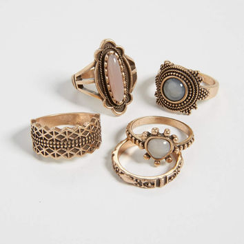 goldtone ring set with gray, pink, and white stones | maurices