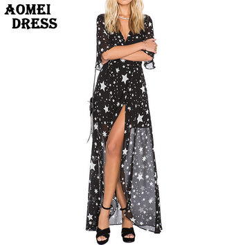 Sexy V Neck Boho Beachwear Gowns Robes High Waist Dress Split V-Neck Girl Print Star Floor-Length 2016 Fashion Summer Clothes