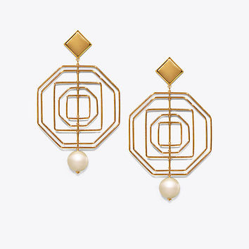 Tory Burch Geo Pearl Statement Earring