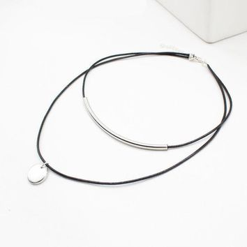 Rope Hollow Choker Necklace Multiple Layer Coins Pendant Shell Women Jewelry Black Velvet Leather Chockers Collier Femme Bijoux