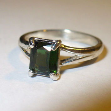 Genuine Tourmaline Solitaire Ring in Solid Sterling Silver
