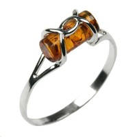 Honey Amber and Sterling Silver Designer Ring, Sizes 5,6,7,8,9,10,11,12
