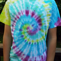 Colorful Tie-dye Swirl Tee Shirt, Unisex Adult M TieDye Tshirt, Hippie Clothing, Boho Apparel, Teen Gift, Retro, 60s Party, Bright Colors