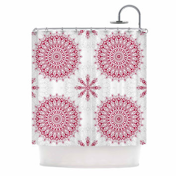 "Julia Grifol ""Geometric Mandalas"" Red White Shower Curtain"