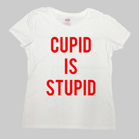 Funny Valentines Day Shirt Anti Valentines T Shirt Single TShirt Hate Valentines Day Anti Love Cupid Is Stupid Mens Ladies Tee - SA1012