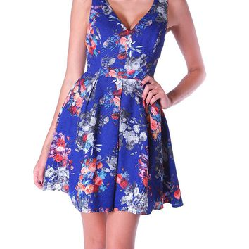 Cultivate Your Allure Fit & Flare Print Dress - Blue/Floral Print