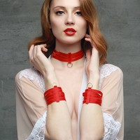 Red Hand Cuff Bondage Accessories - 2 Piece Set
