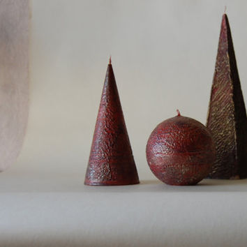 Rustic Hand Painted Candle Cone - Black Red Gold Candle