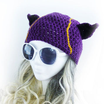 Kennen inspired beanie. League of Legends inspired geeky hat. Purple crochet hat mens womens teen