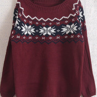 Red Long Sleeve Snowflake Pattern Loose Sweater - Sheinside.com
