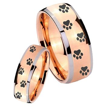 His Hers Rose Gold Dome Paw Print Design Two Tone Tungsten Wedding Rings Set