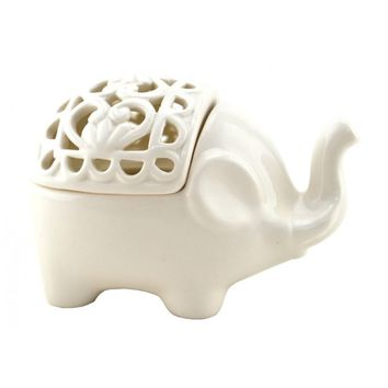 Translucent Porcelain Elephant Incense and Candle Holder