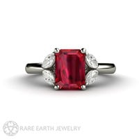 Ruby Ring Ruby Engagement Ring with Diamonds July Birthstone Gemstone 14K or 18K Gold Wedding Ring