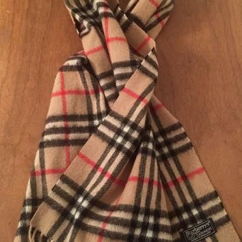 Classic Burberry of London Scarf Novahcheck pattern, Cashmere, Made in England, Plaid,