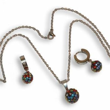 """4-9086-e8 Stainless Multicolor Fireball Set. Includes 18"""" necklace, huggie hoop earrings and 12mm pendant."""