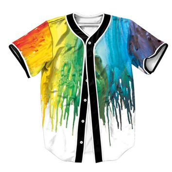 Alisister Painted Gradient Baseball Jersey Shirt Summer Chemise Hip Hop Men Women Buttons Homme Shirts Streetwear Male Tops