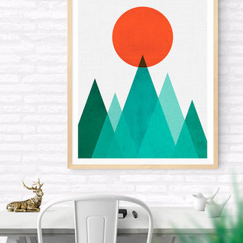 Geometric Mountain & Sun Printable, Geometric Triangle Art, Triangles Artwork, Nursery Decor, Abstract Geometric, Colorful Geometrical art