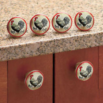 Set Of 6 Country Kitchen Rooster Drawer Pulls/ Cabinet Knobs  Kitchen Decor New