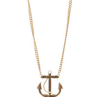 Gold Chain Anchor Pendant Necklace - Unique Vintage - Prom dresses, retro dresses, retro swimsuits.