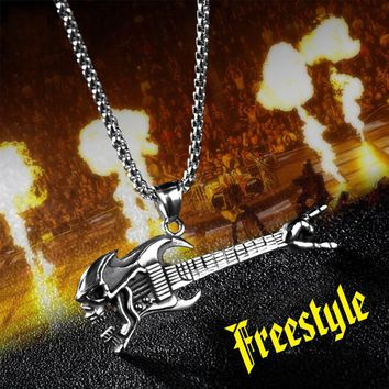steel soldier personality punk rock guitar instrument fashion pendant skull victory gesture necklace hip hop jewelry men