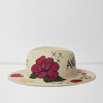 Beige doodle graffiti print straw sun hat - Hats - Accessories - women